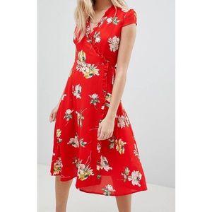 Boohoo Red Floral Pleat Midi Wrap Dress